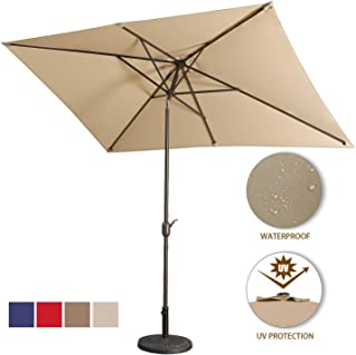 Aok Garden Outdoor Market Umbrella,10x6.5 Feet Square Patio Umbrella with Push Button Tilt and Crank Lift Ventilation,8 Sturdy Ribs Non-Fading Sunshade,Sand