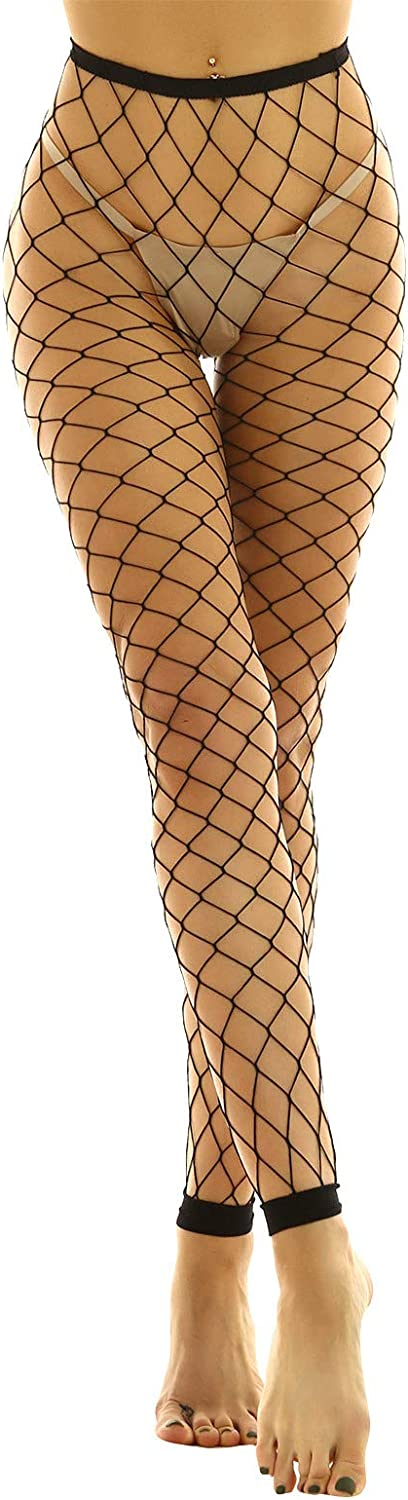 dPois Women's Sexy High Waisted Fishnet Tights See Through Mesh Pantyhose Pants Long Stockings