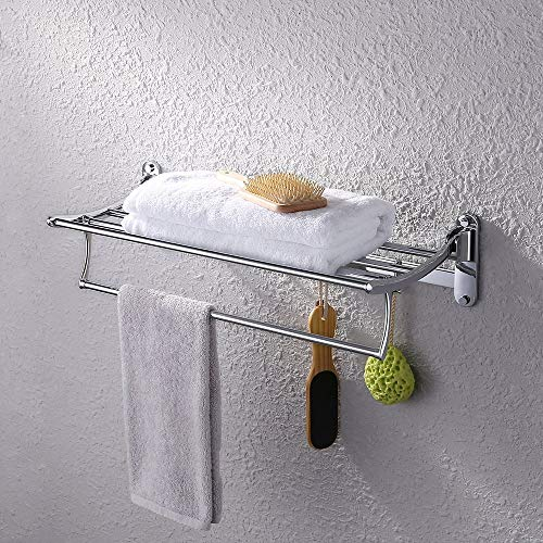 Kes Bathroom Foldable Towel Rack Shelf with Coat and Robe Hooks Wall Mount, Chrome, A3010S60