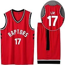 CURVEASSIST Conjunto De Camisetas De Baloncesto Toronto Raptors # 17 Lin Men Retroceso TranspirableBaloncesto Short De Verano Ropa Deportiva De Secado Rápido Rojo,Red-XS