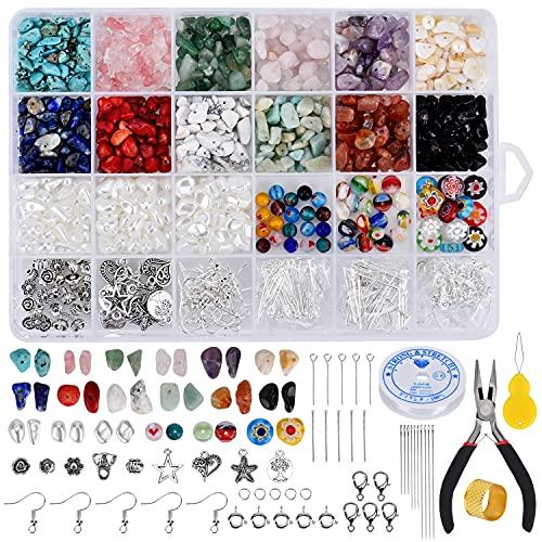 Queta Piedras Preciosas para Manualidades, Perlas de Piedras Preciosas, Juego de Joyas con Colgantes, Pulseras de Hilo de Joyería, DIY Herramientas de Fabricación