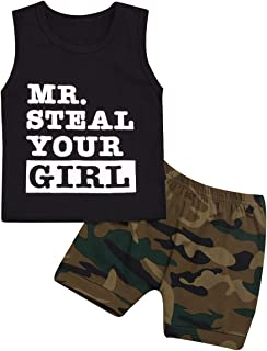 Baby Boy Outfit Mr Steal Your Girl Vest,Summer Black Sleeveless Tops and Camouflage Shorts Clothes Set