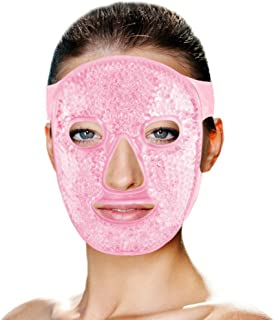 Hot and Cold Therapy Gel Bead Full Facial Mask by FOMI Care   Ice Face Mask for Migraine Headache, Stress Relief   Reduces Eye Puffiness, Dark Circles   Fabric Back   Freezable, Microwaveable