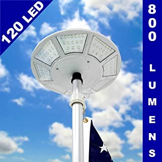 Telepole Manufacturing Inc Updated Solar Flagpole Light - 120 LED Lights with 800 lumens and up to 10+ Hours of Light (with Optional Power Charging Adapter)
