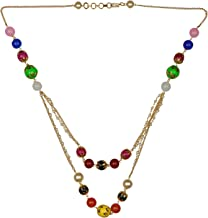 Jewel Pari Pearl Chain Multi Layered Necklace Indian 14 K Gold Plated Red Faux Ruby Beads Strand Fashion Costume Jewelry