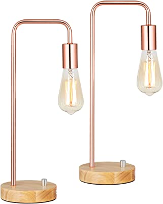 HAITRAL Modern Table Lamps, Industrial Bedside Lamps Set of 2 with Wooden Base, Metal Modern Bedside Lamp for Bedroom, Girls Room, Kids Room, Office - Rose Gold (Bulb Not Include)