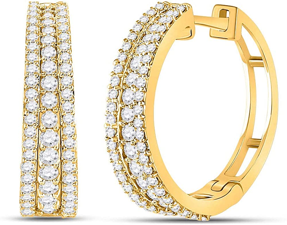 14kt Yellow El Paso Mall Gold Womens Gifts Round Fashion Diamond Hoop Tapered Earri