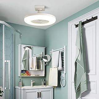 WRMING Ventiladores de Techo con Lámpara, 20W LED Bombillas de Bajo Consumo, para Zócalo E27, Portátil Silencioso Ventilador Lámpara, para Cocina Baño, Iluminación Interior Exterior,30cm,6000K