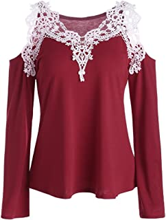 OrchidAmor 2019 Fashion Women Casual Cold Shoulder Color Block Lace Appliques T-Shirt Blouse Top