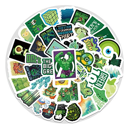 YOUKU Green Small Fresh Graffiti Sticker Luggage Waterproof Pvc Sticker Cartoon Bike Car Stickers 67 Sheets