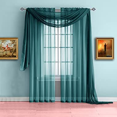 Warm Home Designs Extra Long Green Teal Sheer Window Scarf. Valance Scarves are 56 X 216 Inches in Size. Great As Window Trea