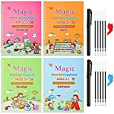 Magic Practice Copybook for Kids, Handwriting Practice Books for Kids, Reusable Practical Calligraphy Books, Cursive Writing Books for Kids (Alphabet-Drawing-Math-Number 4 Books with 2 Pens)