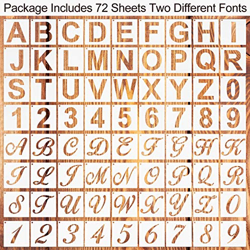 72 Pieces Reusable Letter Number Stencils Plastic Alphabet Painting Stencils Number Stencils Template for Painting on Wood DIY Home Decor Art Projects (3 x 3 Inch) Photo #7