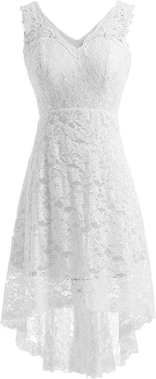 Cdress VNeck Wedding Dresses Flora Lace High Low Bridal Gowns for Bride HiLo Sleeveless