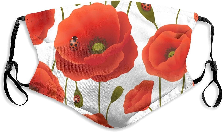 Unisex Adult Vibrant Floral Poppy Flowers Face Mask,Reusable Face Cover,Decorative,Novelty Balaclava Bandana Cloth Black