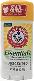 Arm & Hammer Essentials Solid Deodorant, Unscented,2.5 oz, 6 Count