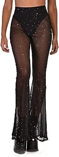 iHeartRaves Women's Flared Bell Bottom Pants - Mesh, Metallic, Rhinestone High Waisted Pants