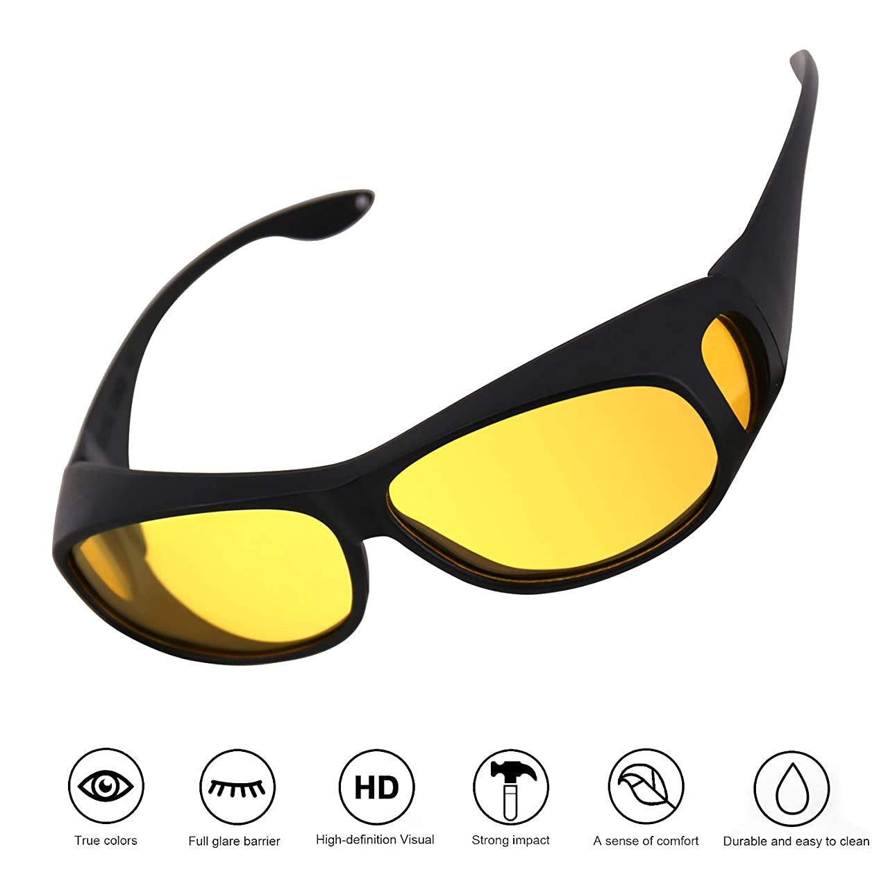 OSKIDE Night Vision Glasses with UV Protection Driving Anti-Glare Rainy Safe Glasses for Men and Women Fashion