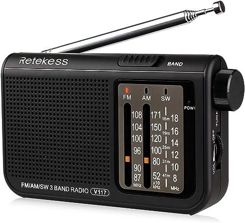 Retekess V-117 Portable AM FM Radio with Shortwave Battery Powered Transistor 3.5mm Headphone Jack Speaker Small Comp...