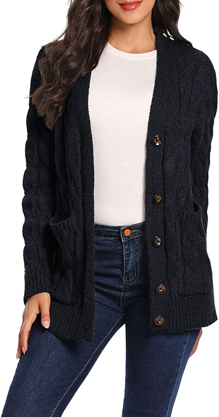 uideazone Womens Open Front Cardigans Long Sleeve Button Sweater Cable Knit Pocket Outwear