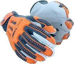 MAGID TRX744 Windstorm Series Impact Gloves   ANSI A4 Cut Resistant Hi-Viz Safety Work Gloves with Cool Mesh Venting, Orange/Grey, Size 10/XL (1 Pair)