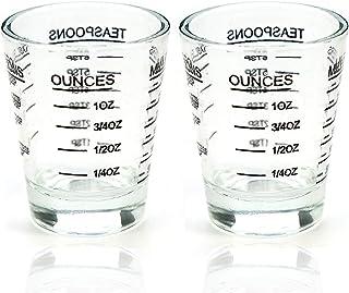 Shot Glasses Measuring cup Liquid Heavy Glass Wine Glass Espresso Shot Glass 26-Incremental Measurement 1oz, 6 Tsp, 2 Tbs, 30ml (2 pack-black 30ml)