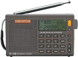 RADIWOWで作る SIHUADON R108 ポータブル BCL短波ラジオAM FM LW SW 航空無線 DSPレシーバー LCD 良好屋内および屋外アクティビティの両親への贈り物