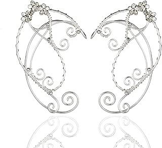 Chic Elf Pearl Hollowed Flower Leaf Cosplay Fairy Ear Wrap Cuffs Earrings for Women Girls Wedding Jewelry 1 Pair