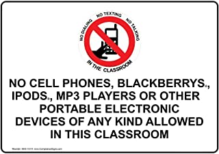 No Cell Phones Allowed in This Classroom Sign, White 7x5 in. Plastic for Cell Phones by ComplianceSigns
