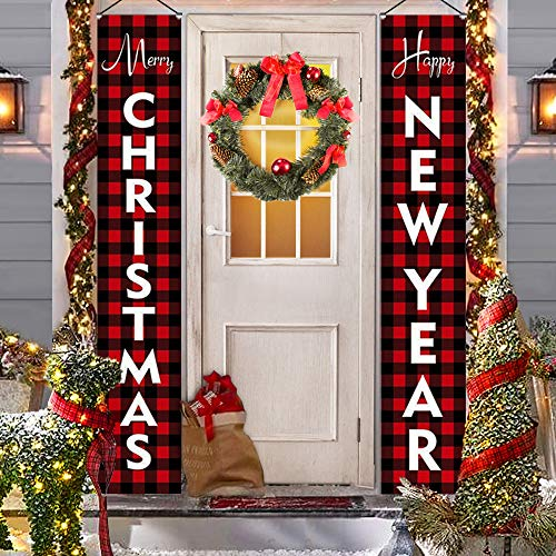 Outdoor Christmas Decorations for Home - Modern Farmhouse Decor - MERRY CHRISTMAS HAPPY NEW YEAR Red Buffalo Check Plaid Porch Signs - Rustic Xmas Banners for Indoor Outside Front Door Living Room Kit