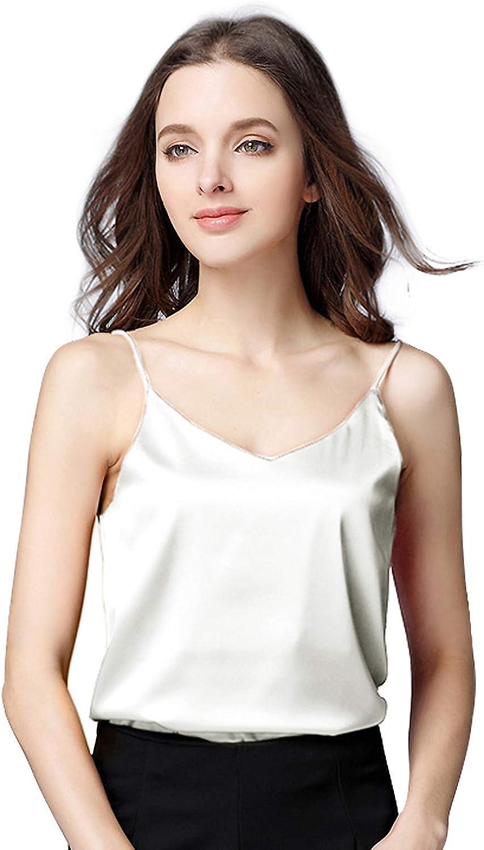 Miqieer Basic Women's Silk Tank Top Ladies V-Neck Camisole Silky Loose Sleeveless Blouse Satin Tank Shirt