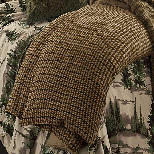 HiEnd Accents Clifton Lodge-Style Brown Houndstooth Duvet Cover, Super King