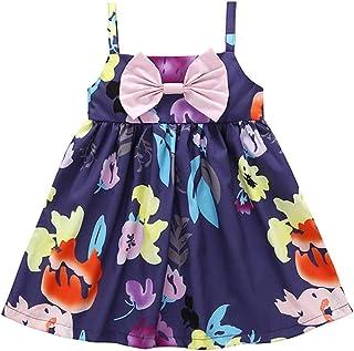 snowvirtuosau Kids Girls Print Strap Dress Sleeveless Cute Bowknot Tutu Princess Dress