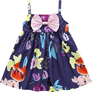 snowvirtuosau Kids Girls Print Strap Dress Sleeveless Cute Bowknot Tutu Princess Dress