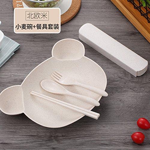 Xing Lin Kinder Besteck Weizenstroh Wrestling Schüssel Löffel Essstäbchen Für Kinder Besteck, North European Rice [Platte Geschirr]