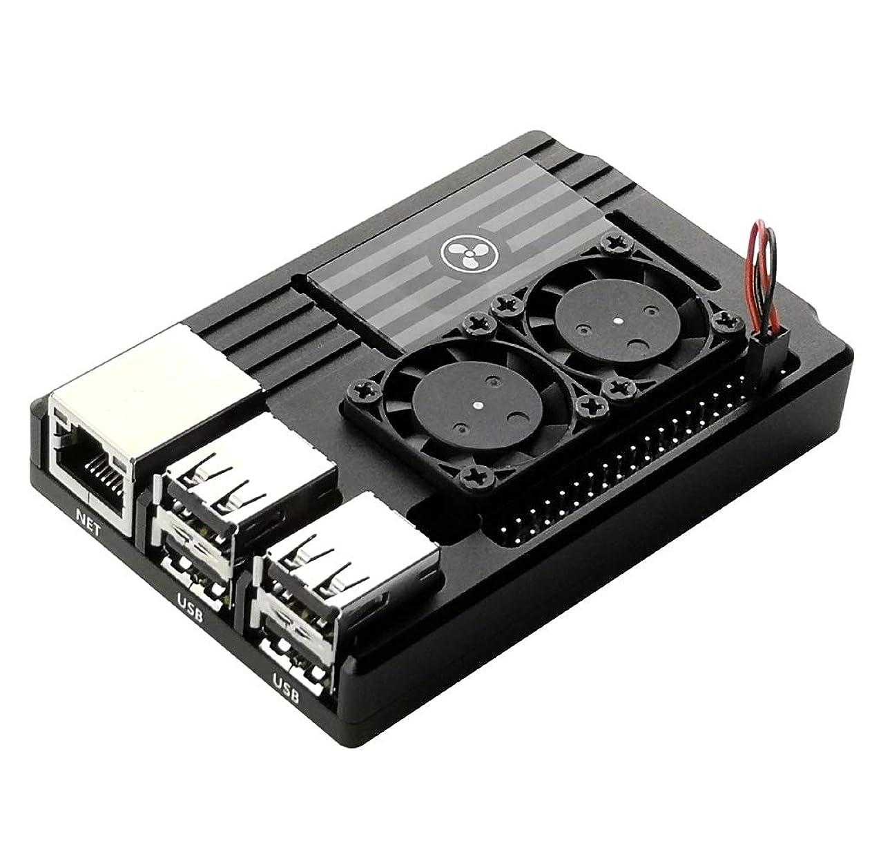 EleDuino Raspberry Pi 3 B+ Aluminum Case Enclosure with Dual Active Cooling Fan Black (Aluminum Case) xgqzduyleftpu675