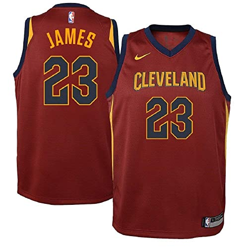 4c3331bee29c Nike Lebron James Cleveland Cavaliers NBA Youth Burgundy Road Dri-Fit  Swingman Icon Jersey