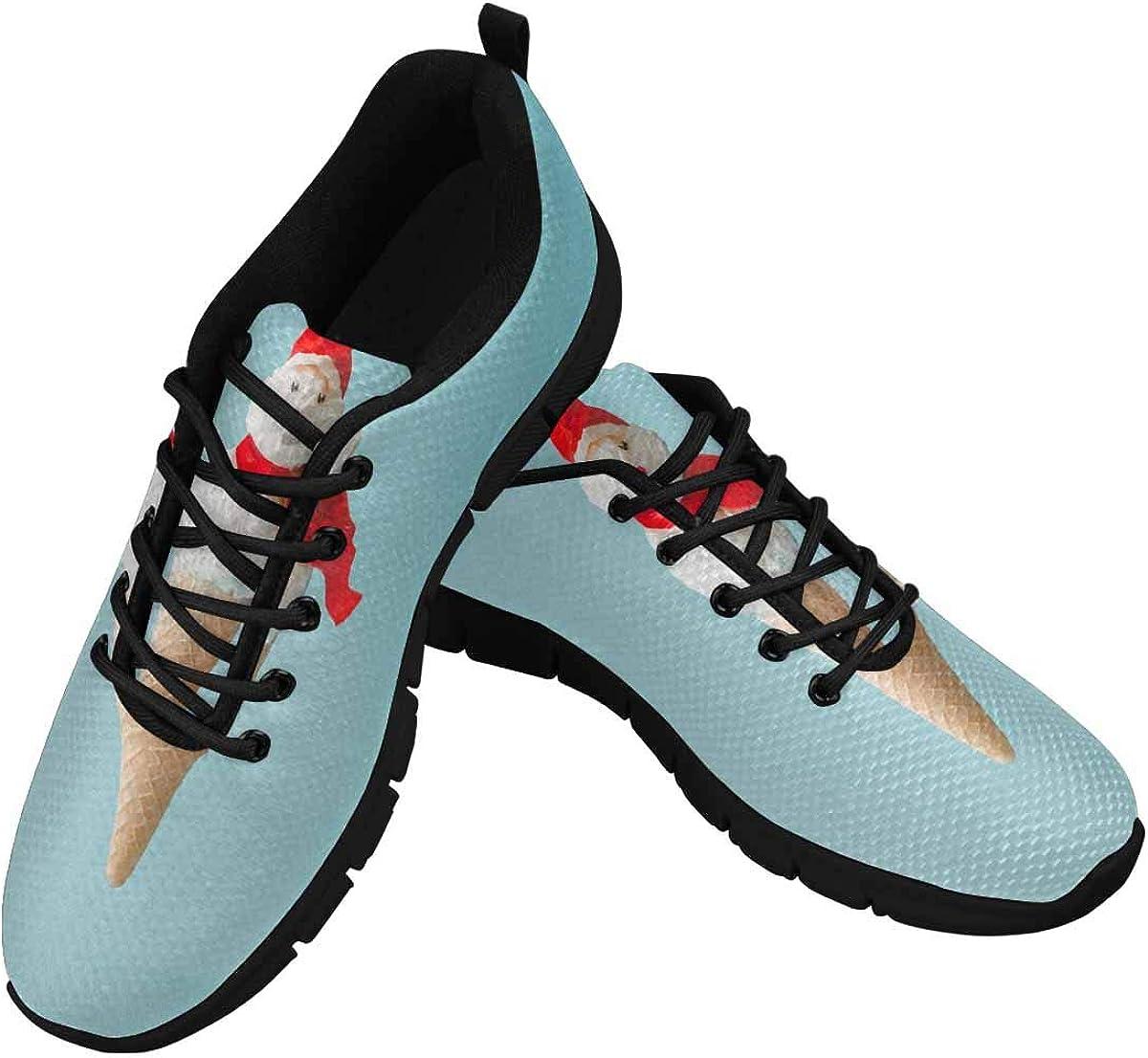 InterestPrint Snowman Made of Ice Cream Women's Athletic Walking Shoes Comfort Mesh Non Slip