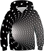uideazone Boys Girls 3D Printed Hooded Sweatshirt Casual Pullover Hoodies with Pockets 6-16 Years