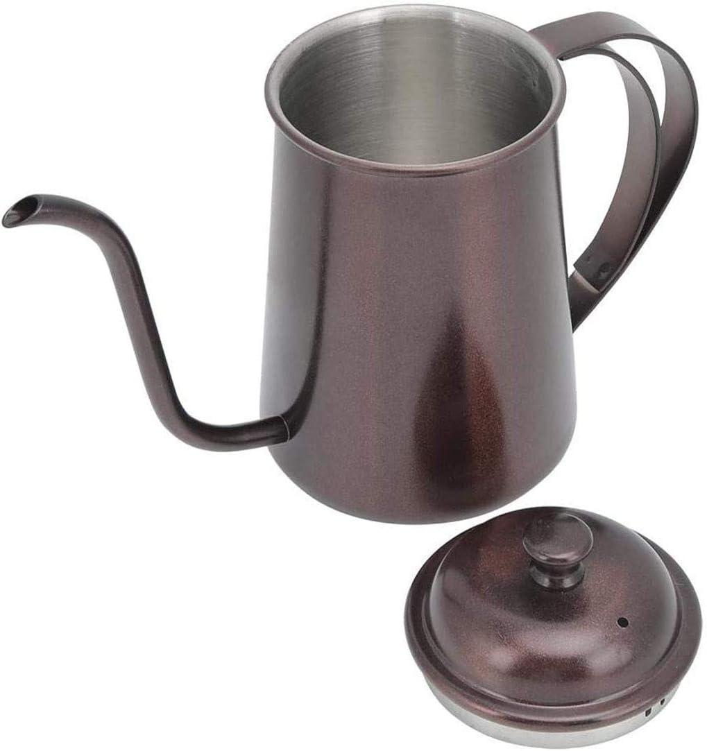nooit opgeven Koffiepot, 650ml Huishoudelijke Draagbare Roestvrij Staal Lange Tuit Hand Ketel Koffiepot Met Deksel (Kleur:A(pak van 2)) A