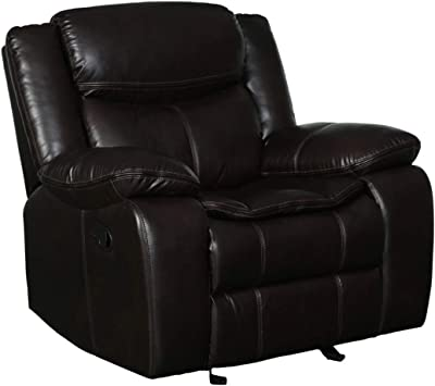 """Blackjack Furniture Marsden Modern Contemporary Faux Leather Living Room Recliner Chair, 42"""", Brown"""