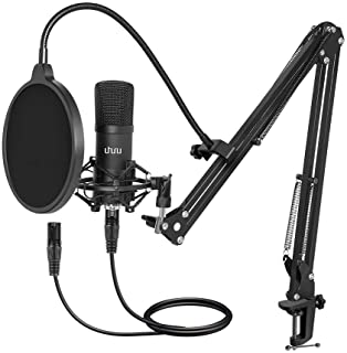 XLR Condenser Microphone, UHURU Professional Vocal Cardioid Microphone Kit with Boom Arm, Shock Mount, Pop Filter, Windscr...