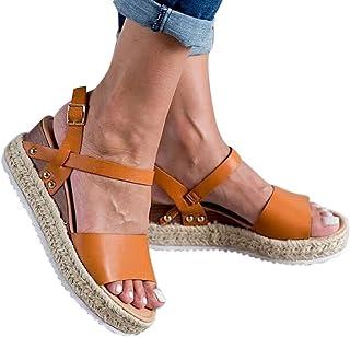 Haomigol Women Platform Sandals Espadrille Wedge Ankle Leather Strap Studded Open Toe Sandals Casual Summer Strappy Sandals