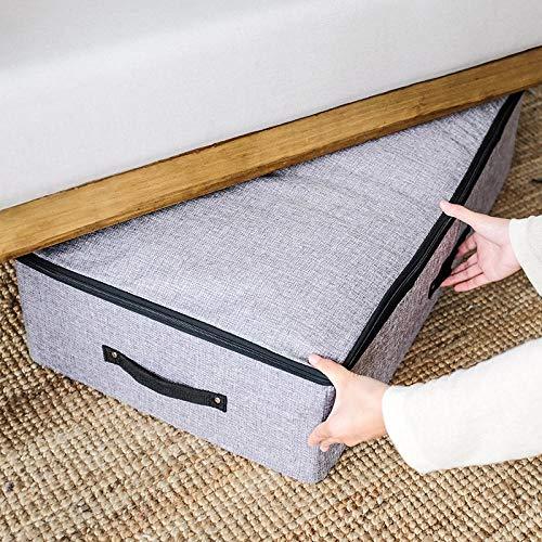 Generic Boîte de Rangement en Tissu lit en Bas boîte de Rangement Chambre dortoir Sac de Rangement étanche à l'humidité avec Sac de Couchage Lavable-Gris