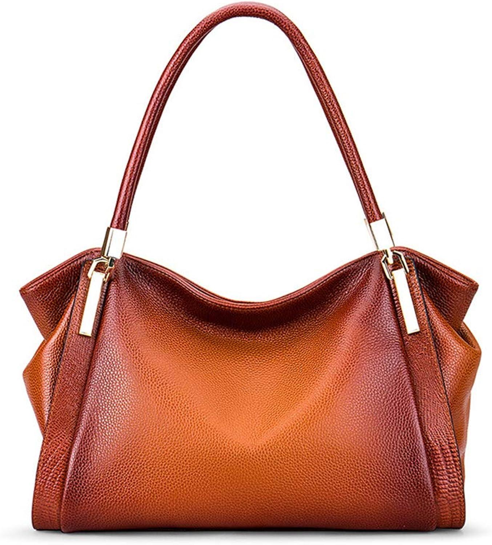 damen es Shoulder Bag Leather Leather Leather Large Capacity Shoulder Strap Adjustable Tote (braun rot) B07KQ435YN c5cb2c