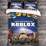 SL-YBB Roblox - Juego de ropa de cama con impresión 3D, decoración de dormitorio, juego de 3 piezas, funda nórdica, un regalo para jóvenes fans del juego (Roblox2, 220 x 240 cm + 80 x 80 cm x 2)