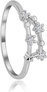 Zodiac Constellation Ring with Cubic Zirconia Stones Made of Zinc, Steel & Brass