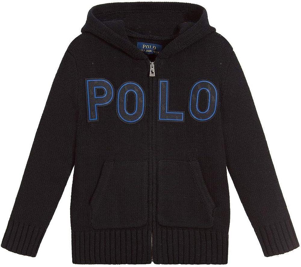 Ralph Lauren Polo Boys Big Pony Patch Wool Hoodie Cardigan Sweater (Large 14-16) Black