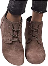 Women's Boots Vintage Wedge Leopard Ankle Short Boots Comfy Mid Chunky Heel Suede Bootie with Zipper