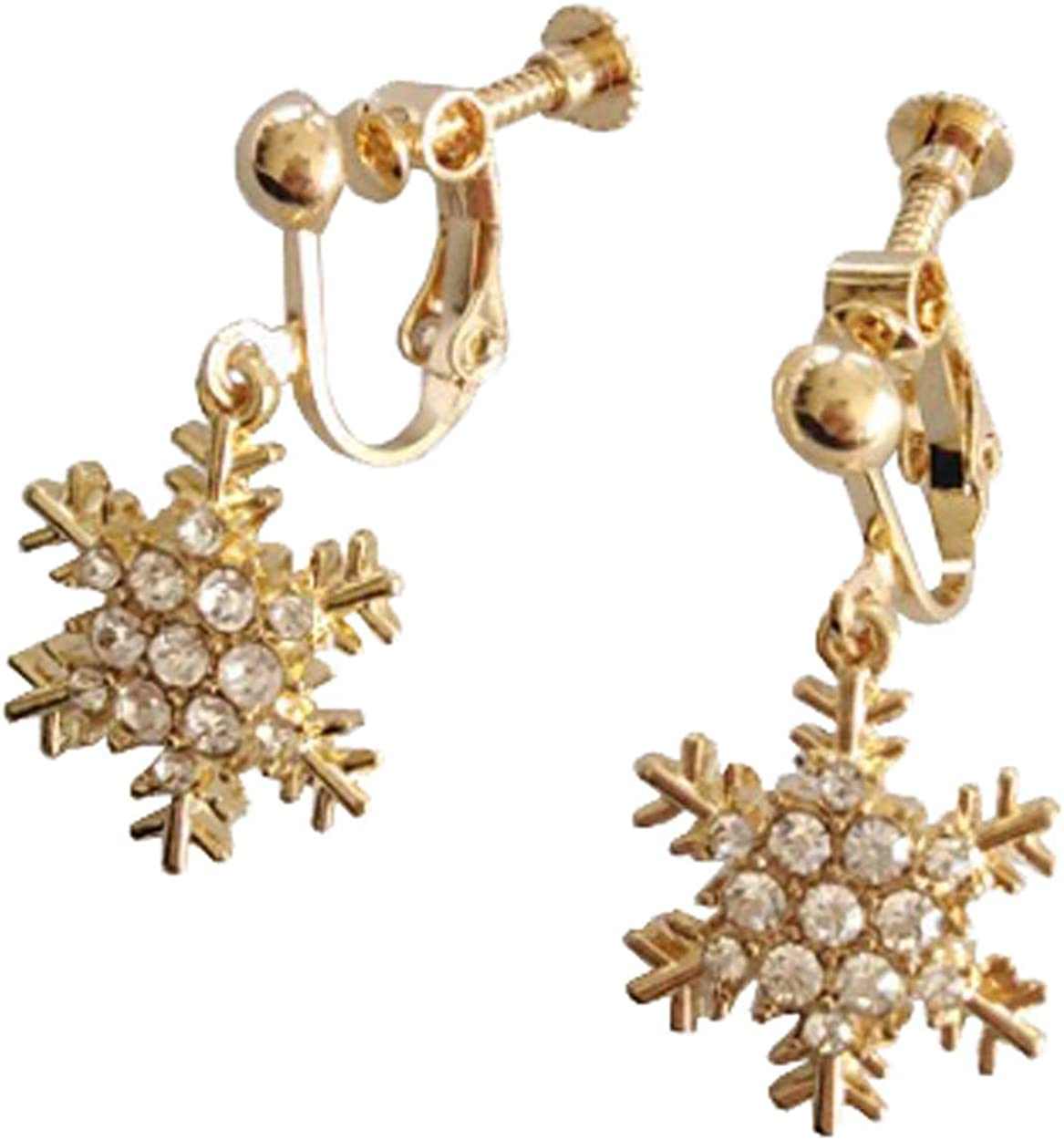 Fashion Snowflake Clip on Earrings Rhinestone Leaf Dangle Hoops Drop Gold Plated Non Pierced Ears for Girls Women Christmas Party Winter Gifts